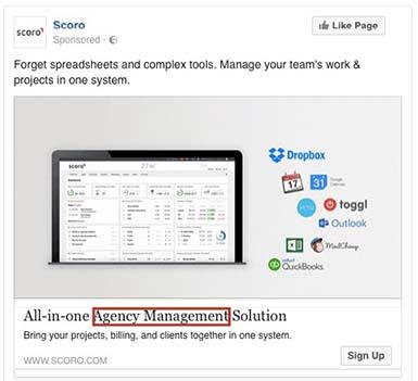 Pagina di destinazione Facebook Ads