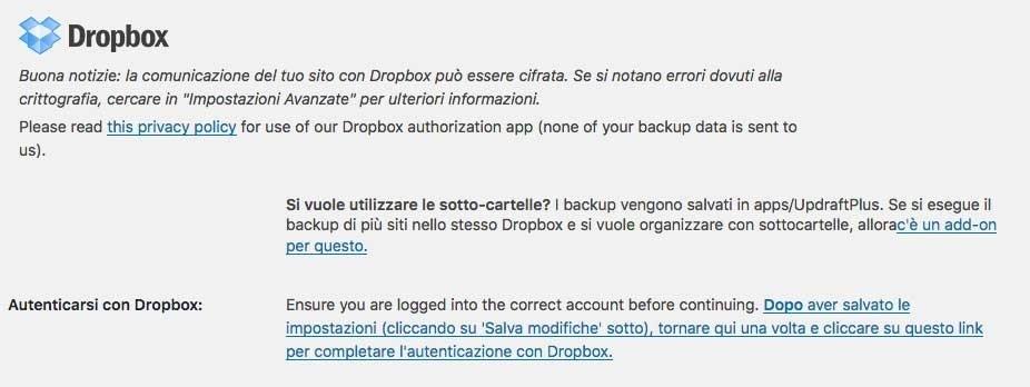Updraft salvataggio su Dropbox