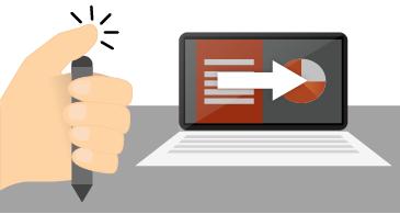 Esecuzione di una presentazione con la penna digitale