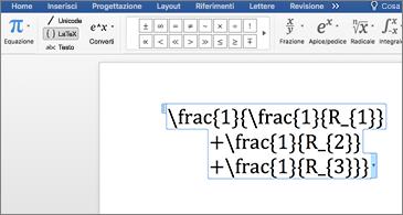 Supporto per l'equazione LaTeX